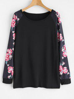 Long Floral Print Raglan Sleeve Tee - Black Xl