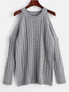 Cable Knit Sweater Mit Kalter Schulter - Grau M