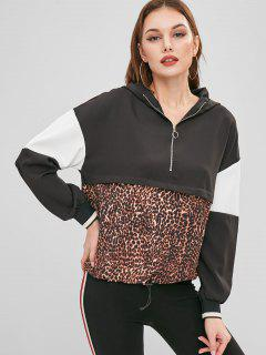 Half-zip Color Block Leopard Hoodie - Multi S