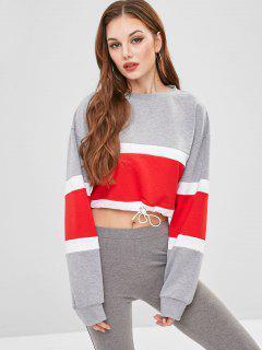 Crop Color Block Drop Shoulder Sweatshirt - Gray M