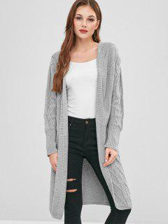 Hooded Open Front Longline Cardigan - Gray