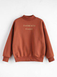 Mock Neck Embroidered Sweatshirt - Chestnut L