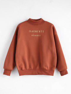 Mock Neck Embroidered Sweatshirt - Chestnut M