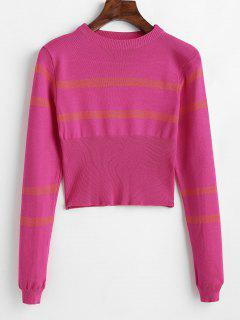 Striped Round Neck Short Sweater - Rose Red