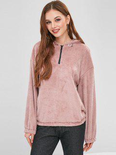 ZAFUL Half Zip Plain Faux Fur Hoodie - Lipstick Pink S