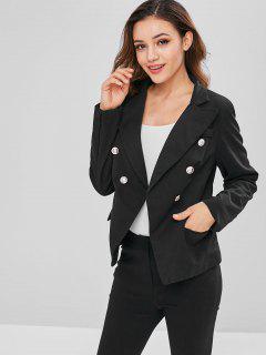 Padded Shoulder Flap Pockets Blazer - Black M