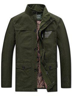 Solid Pockets Zipper Letters Print Casual Coat - Army Green M
