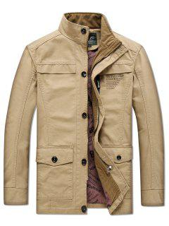 Solid Pockets Zipper Letters Print Casual Coat - Tan S