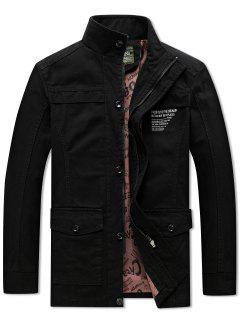 Solid Pockets Zipper Letters Print Casual Coat - Black L
