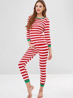 Conjunto De Camiseta Y Pantalones De Rayas - Multicolor Xl