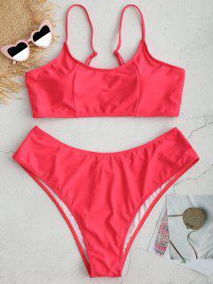 ZAFUL Plus Size Bralette Bikini Set - Red L