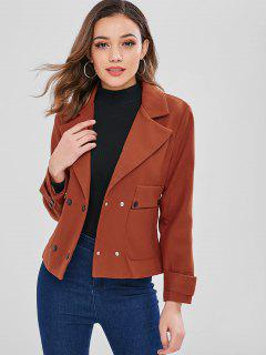 Turndown Collar Jacket With Pocket - Chestnut Red Xl