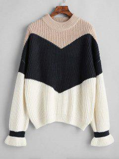Chunky Knit Color Block Sweater - Apricot