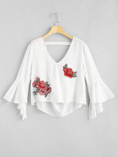 Floral Applique Draped Open Back Bell Sleeve Top - White M