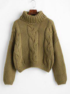 Drop Shoulder Cable Knit Turtleneck Chunky Sweater - Oak Brown