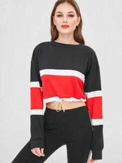 Crop Color Block Drop Shoulder Sweatshirt - Red S
