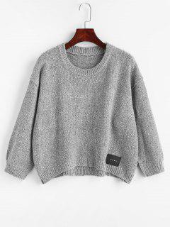 Hoch Niedriger Patch Design Pullover - Grau
