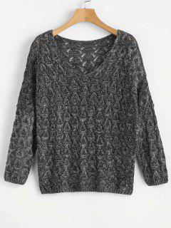 V Neck Loose Hollow Out Sweater - Black