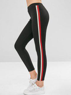 Stripe Trim Thick Leggings - Black