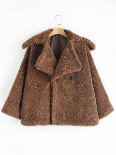 ZAFUL Two Button Lapel Fluffy Teddy Coat - Dark Goldenrod M