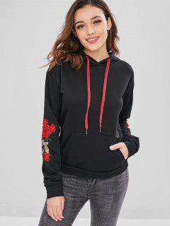 ZAFUL Front Pocket Embroidered Patched Hoodie - Black M