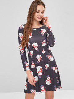 Christmas Snowman Print Dress - Multi S