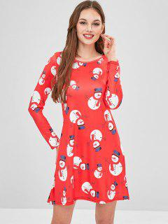 Snowman Print Christmas Dress - Red S