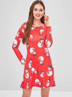 Snowman Print Christmas Dress - Red Xl