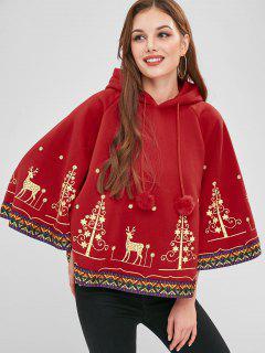 Christmas Print Fleece Cape Hoodie - Red