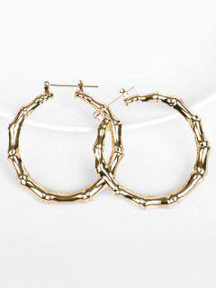 Bamboo Design Hoop Metal Earrings - Gold