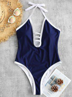 ZAFUL Strappy Halter One Piece Swimsuit - Lapis Blue S
