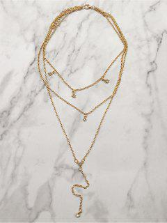 Multilayered Star And Rhinestone Design Necklace - Gold