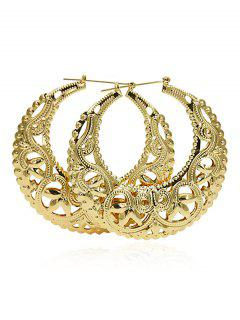Hollow Round Floral Print Hoop Earrings - Gold