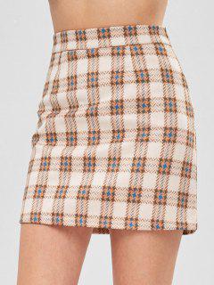 Houndstooth Plaid Skirt - Multi L