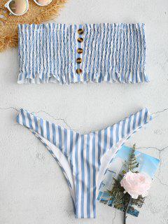 Bikini De Bandeau Con Rayas Smocked De ZAFUL - Multicolor M