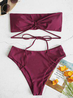 ZAFUL Tube High Cut Bikini Swimsuit - Velvet Maroon L