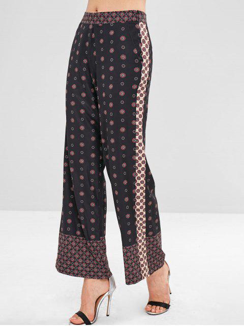 Pantalones Palazzo de pierna ancha impresos de gran altura - Negro L Mobile
