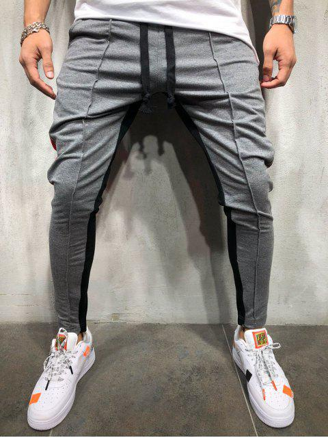 hot Stripe Color Block Jogger Pants - BATTLESHIP GRAY 2XL Mobile