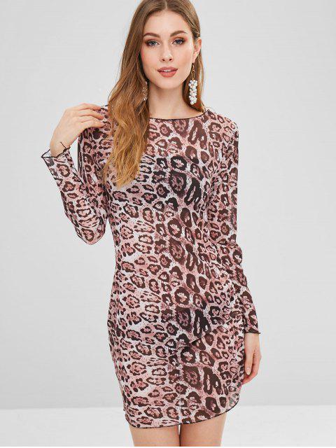 trendy Long Sleeve Semi Sheer Leopard Bodycon Dress - LEOPARD XL Mobile