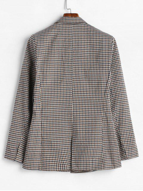 womens Gingham Double Breasted Tweed Blazer - MULTI L Mobile