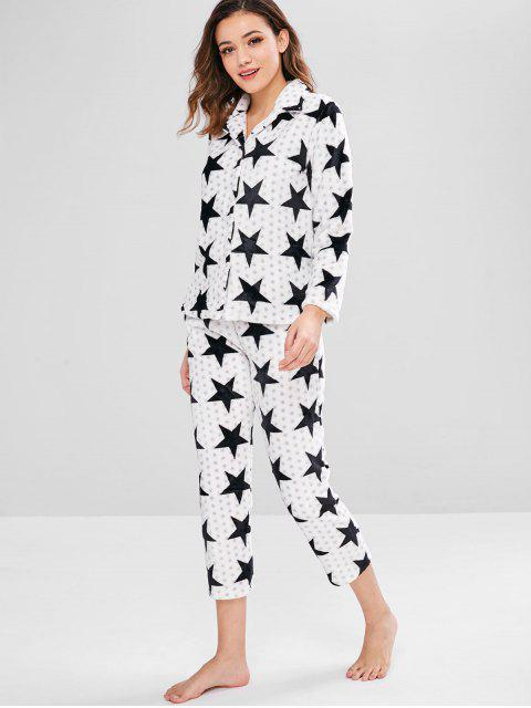 ladies Flannel Star Button Up Pajama Set - PLATINUM M Mobile