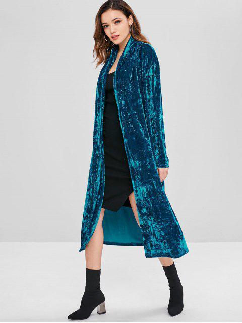 women Crushed Velvet Duster Coat - PEACOCK BLUE S Mobile