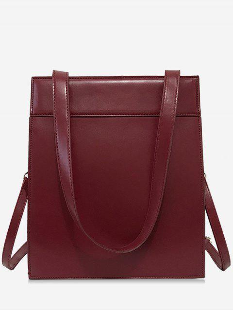 outfits Magnet Hook PU Design  Shoulder Bag - RED WINE  Mobile