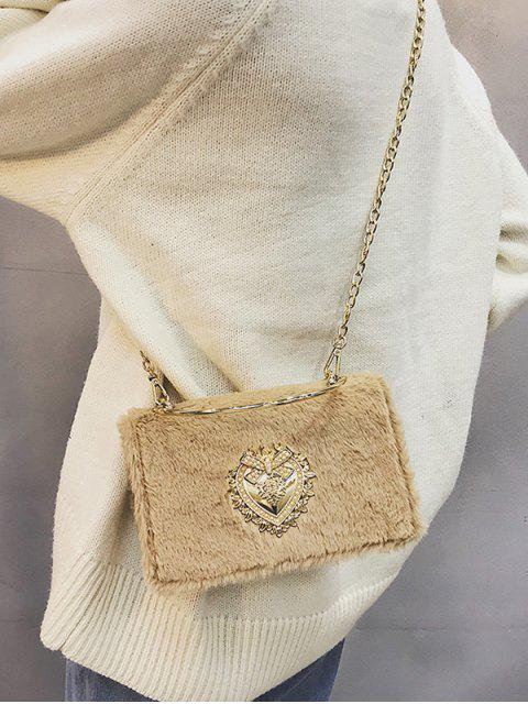 online Heart Shape Rhinestone Fluffy Crossbody Bag - LIGHT KHAKI  Mobile