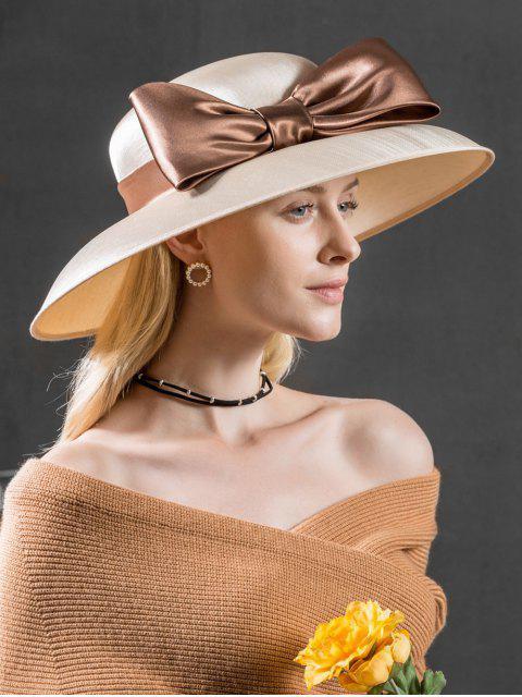 buy Large Ribbon Bowknot Side Church Hat - WARM WHITE  Mobile