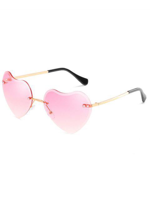 affordable Unique Heart Lens Rimless Sunglasses - PIG PINK  Mobile