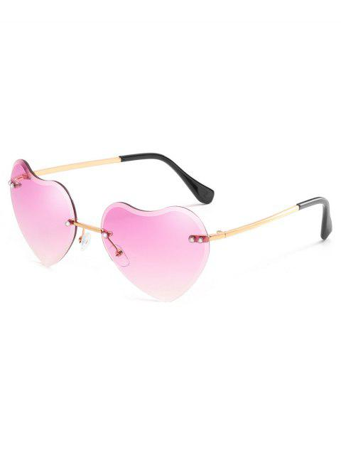 women Unique Heart Lens Rimless Sunglasses - MAUVE  Mobile