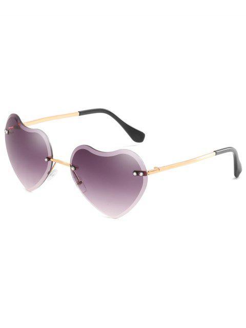new Unique Heart Lens Rimless Sunglasses - LIGHT SLATE GRAY  Mobile