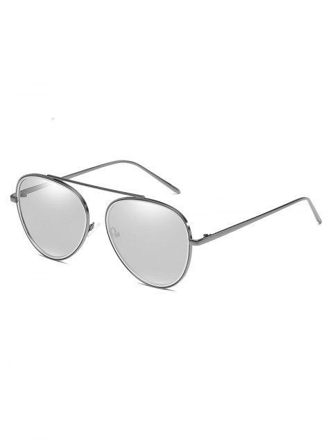 shops Unique Crossbar Metal Frame Pilot Sunglasses - SILVER  Mobile