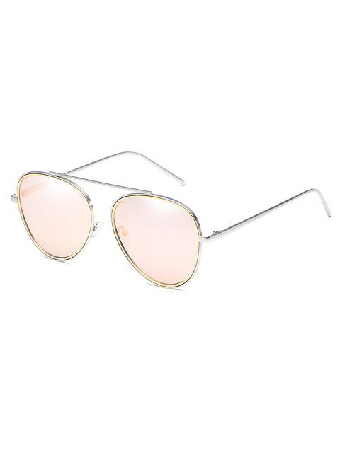 latest Unique Crossbar Metal Frame Pilot Sunglasses - LIGHT PINK  Mobile
